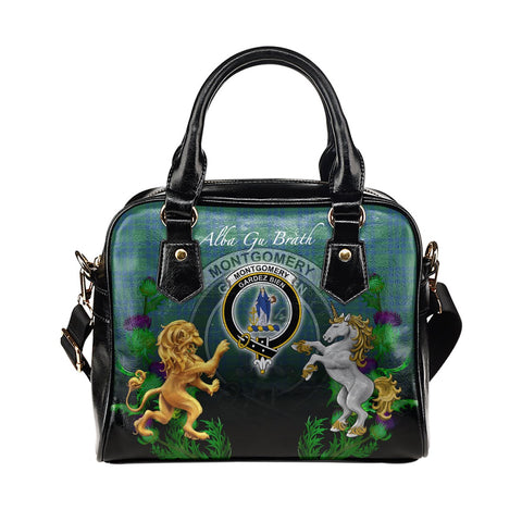 Montgomery Ancient Crest Tartan Lion Unicorn Thistle Shoulder Handbag