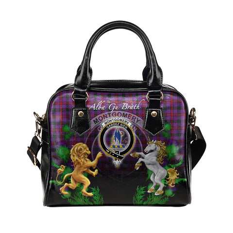 Montgomery Modern Crest Tartan Lion Unicorn Thistle Shoulder Handbag
