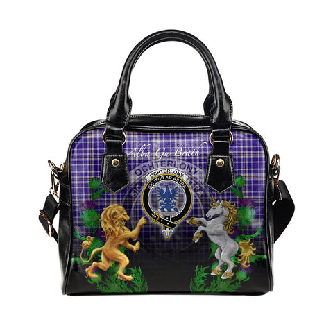 Ochterlony Crest Tartan Lion Unicorn Thistle Shoulder Handbag