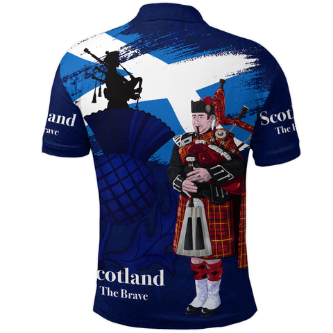 Image of 1stScotland Polo Shirt - Scottish Bagpipes, Thistle Scotland The Brave | 1stScotland