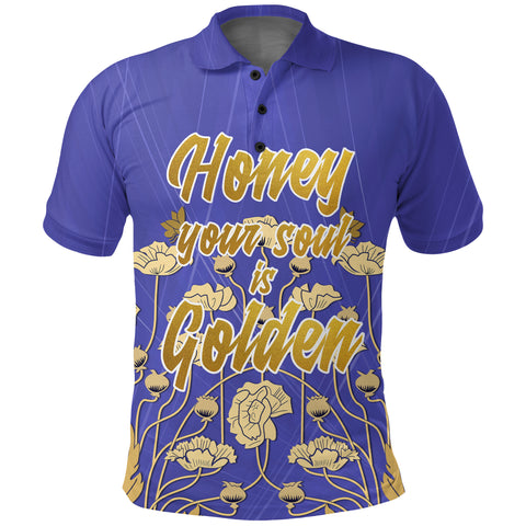 "1stScotland Polo Shirt - ""Honey Your Soul Is Golden"" & Luckenbooth A25"