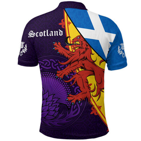 1stScotland Polo Shirt - Thistle Celtic, Scotland Coat Of Arms and Flag | 1stScotland