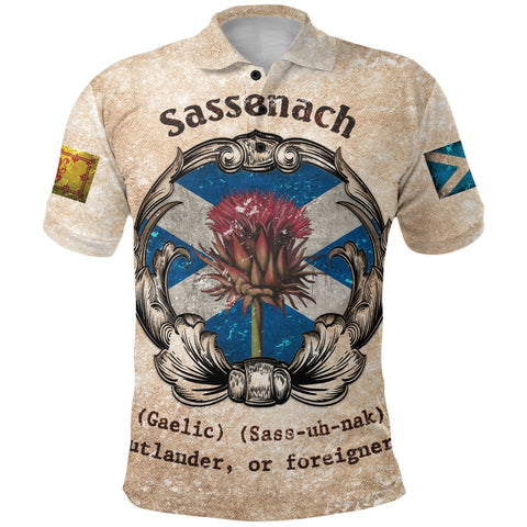 1stScotland Polo Shirt - Sassenach Gaelic Sass Uh Nak Outlander Or Foreigner Scottish Thistle | 1stScotland