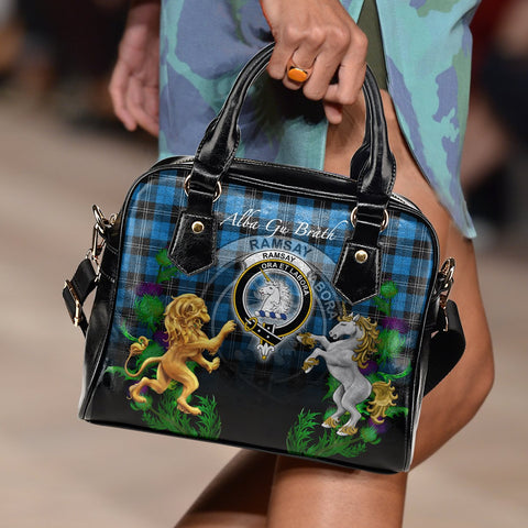 Image of Tartan Handbag, Ramsay Blue Ancient Lion Unicorn Thistle Scottish Shoulder Handbag A30
