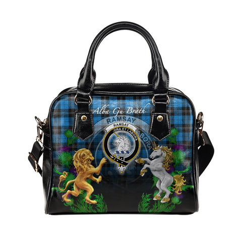 Image of Ramsay Blue Ancient Crest Tartan Lion Unicorn Thistle Shoulder Handbag