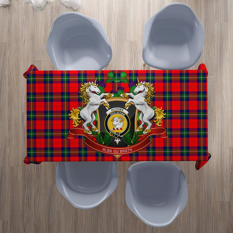 Ruthven Modern Crest Tartan Tablecloth Unicorn Thistle | Home Decor
