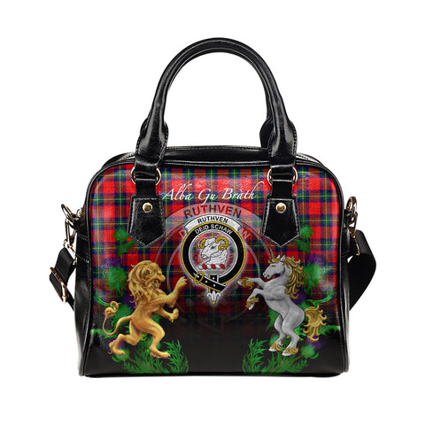 Image of Ruthven Modern Crest Tartan Lion Unicorn Thistle Shoulder Handbag