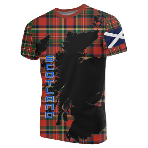 Scotland Tee - Custom Stewart Royal Tartan Thistle A8