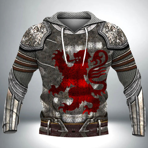 Scotland Hoodie, Scottish Knight With Red Lion Hoodie TH7
