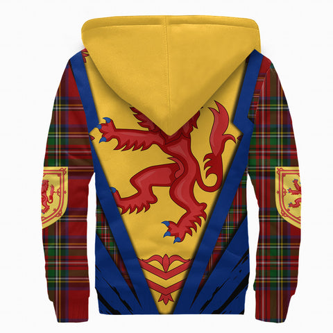 1stScotland Sherpa Hoodie, Scottish Flag Lion Tartan Royal