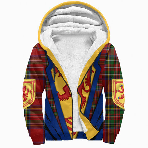 Image of 1stScotland Sherpa Hoodie, Scottish Flag Lion Tartan Royal