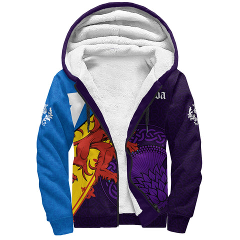 1stScotland Sherpa Hoodie - Thistle Celtic, Scotland Coat Of Arms and Flag | 1stScotland