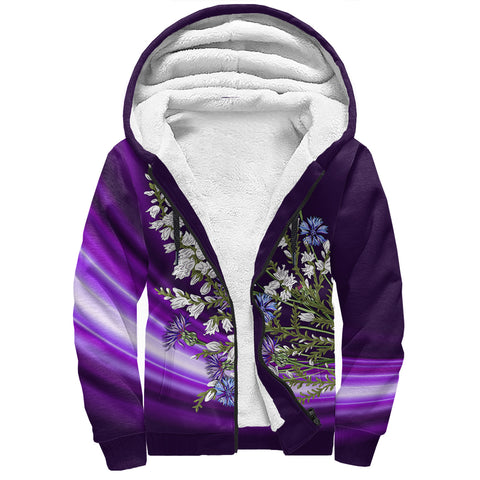 1stScotland Sherpa Hoodie - Heather And Thistle Purple A24