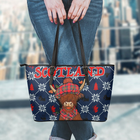 1stScotland Leather Tote - Christmas Highland Cow | 1stScotland