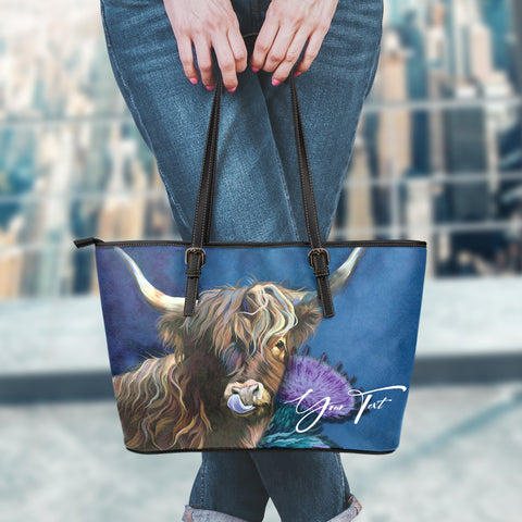 (Custom) 1stScotland Leather Tote - Highland Cow Thistle | 1stScotland