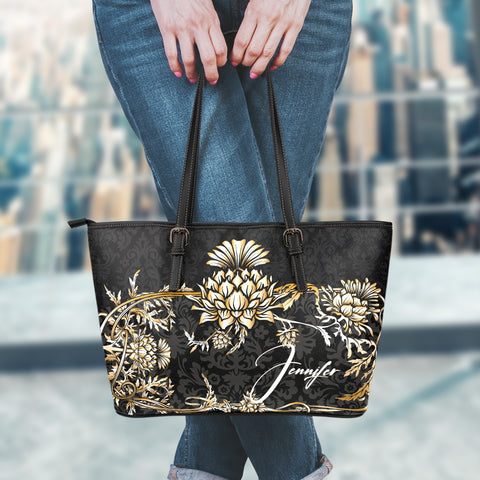 (Custom) Scotland Leather Tote Thistle Gold Personal Signature A24