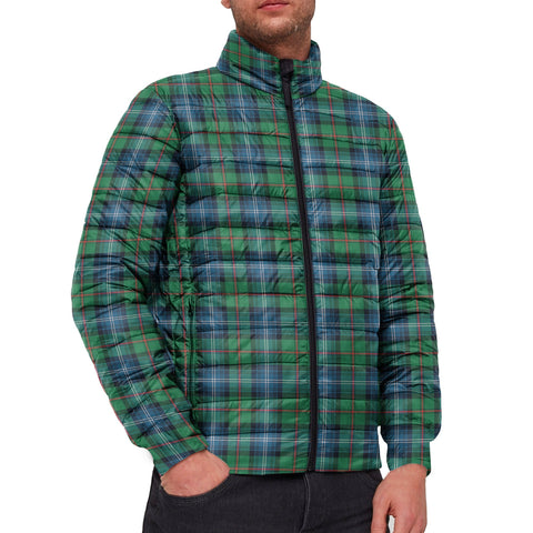 Tartan Padded Jacket -  Urquhart Ancient Scottish Stand Collar Padded Jacket A7