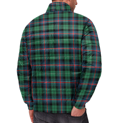 Image of Tartan Padded Jacket -  Urquhart Broad Red Ancient Scottish Stand Collar Padded Jacket A7