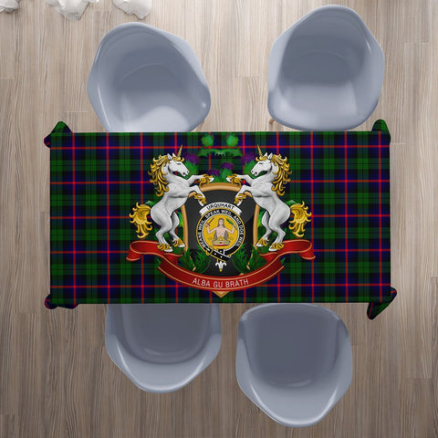 Image of Urquhart Modern Crest Tartan Tablecloth Unicorn Thistle | Home Decor