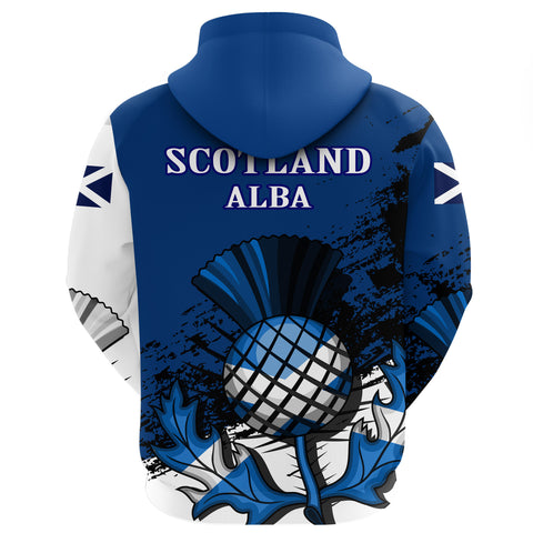 Scotland Hoodie, Thistle Zip Up All Over Print Hoodie A7