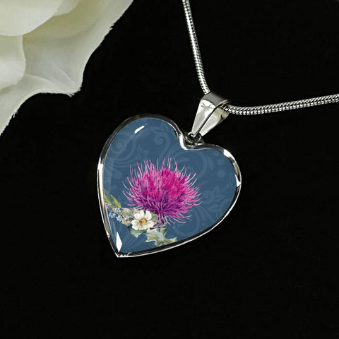 Thistle Flower - Heart Shaped Necklace | Special Custom Design