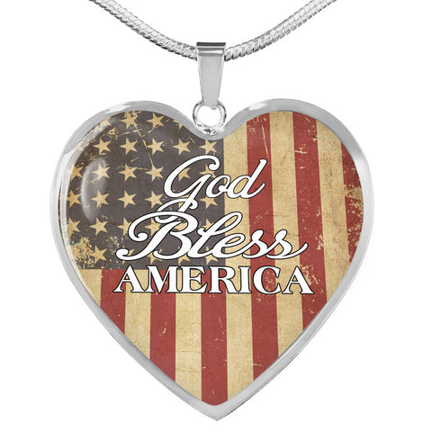 God Bless America Heart Necklace A7