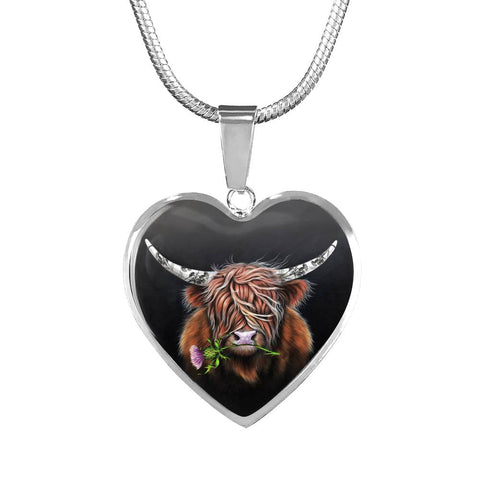 Thistle Highland Cow - Heart Shaped Necklace | Special Custom Design