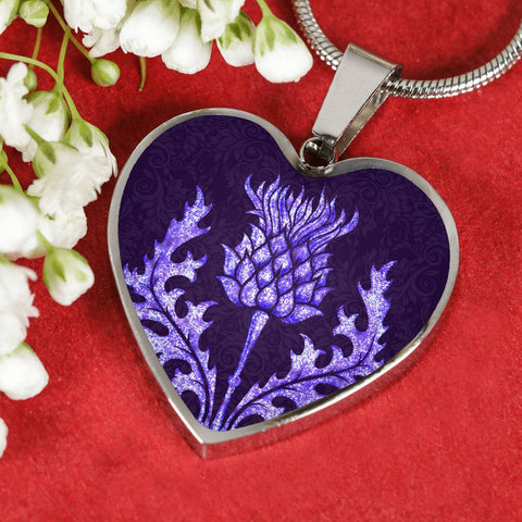 Scotland Jewelry - Purple Thistle Sparkling Heart Necklace A1 |Accessories| 1sttheworld