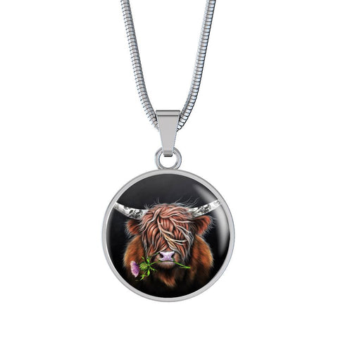 Thistle Highland Cow - Circle Shaped Necklace | Special Custom Design