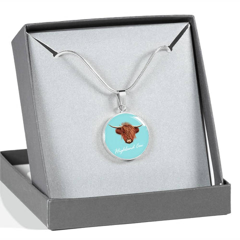 Highland Cow Head - Circle Shaped Necklace | Special Custom Design