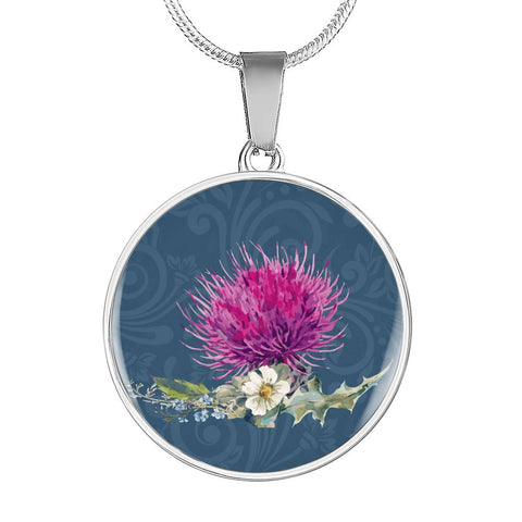 Thistle Flower  - Circle Shaped Necklace | Special Custom Design