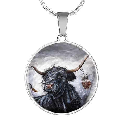 Cattle Highland Cow - Circle Shaped Necklace | Special Custom Design