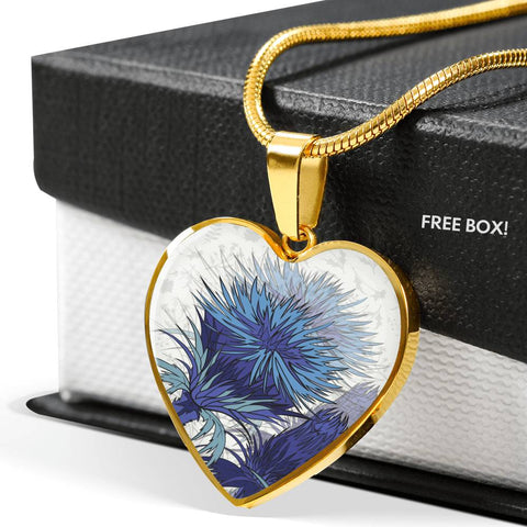 Blue Thistle - Heart Shaped Necklace | Special Custom Design