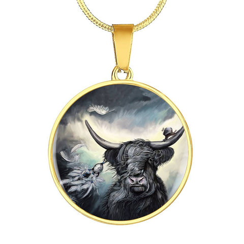 Scottish Highland Cow - Circle Shaped Necklace | Special Custom Design