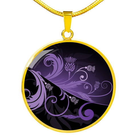 Purple Thistle Light Circle Shaped Necklace | Hot Sale | 1stscotland
