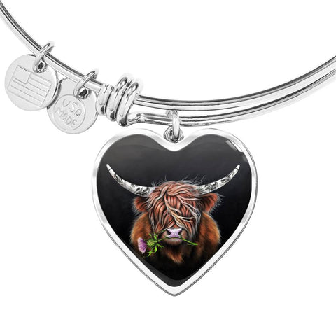Thistle Highland Cow - Heart Shaped Bangle | Special Custom Design