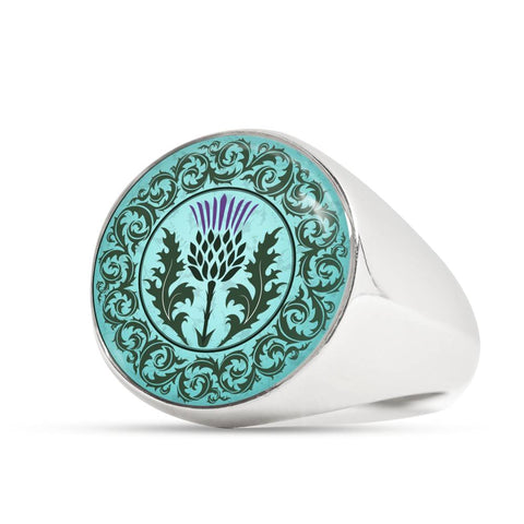 Green Thistle - Gold/Silver Ring | Special Custom Design