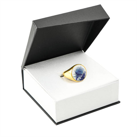 Blue Thistle - Gold/Silver Ring | Special Custom Design