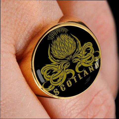 Thistle Scotland (Black) - Gold/Silver Ring | Special Custom Design