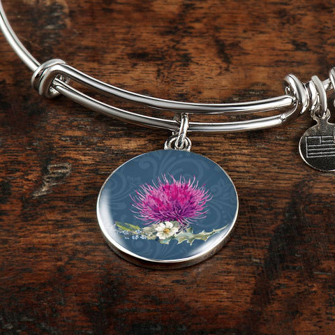 Thistle Flower - Circle Shaped Bangle | Special Custom Design
