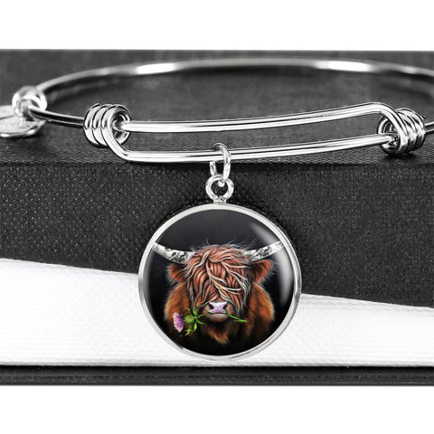 Thistle Highland Cow - Circle Shaped Bangle | Special Custom Design