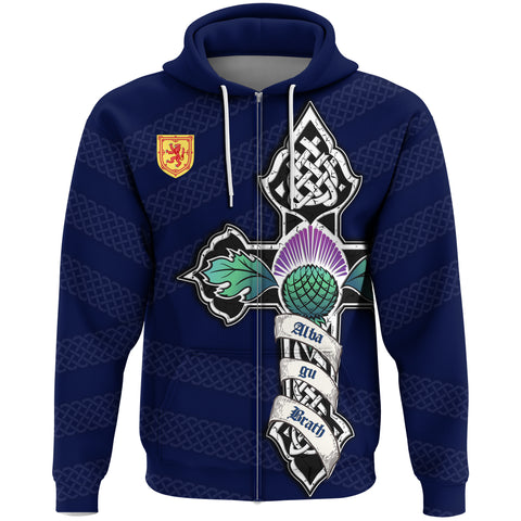 1stScotland Zip Hoodie - Blue Celtic Cross Thistle And Lion A24