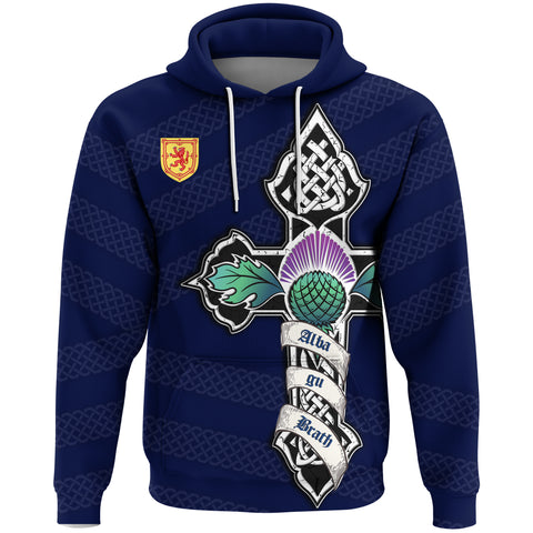1stScotland Hoodie - Blue Celtic Cross Thistle And Lion A24