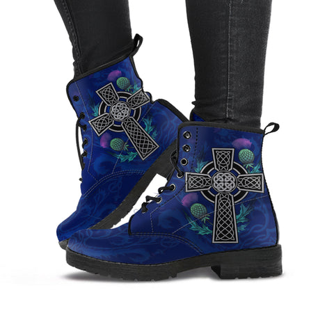 Celtic Cross and Thistle Flower - Scotland Leather Boots | Love Scotland