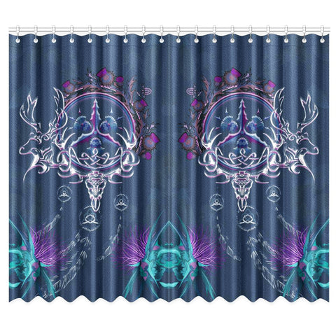 Image of Scottish Thistle Window Curtain - Scottish Red Deer Celtic Dream Catcher A18