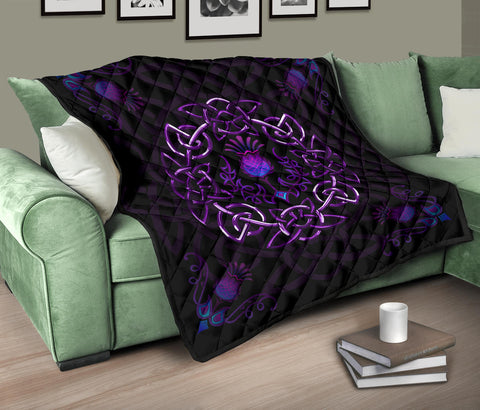 Scotland Premium Quilt - Purple Thistle Celtic