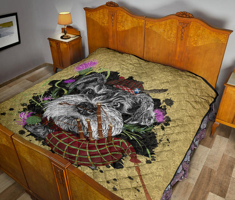 Image of Scotland Premium Quilt - Scottish Terrier And Thistle Vintage | Love The World