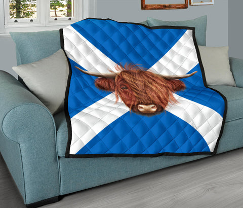 Scotland Premium Quilt - Scotland Flag And Highland Cow