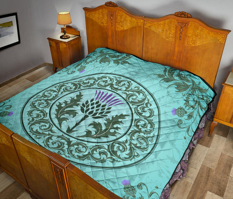 Scotland Premium Quilt - Green Thistle