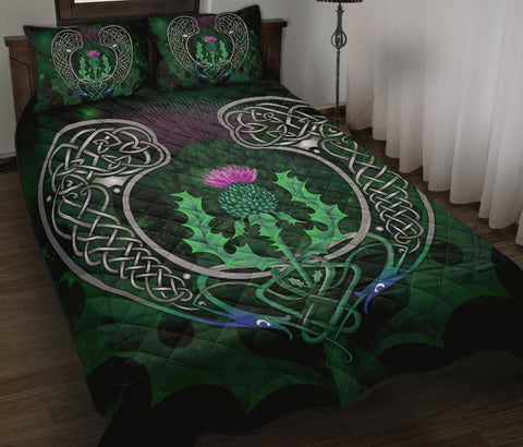 Image of Scotland Quilt Bed Set - Celtic Thistle Green | Home Set